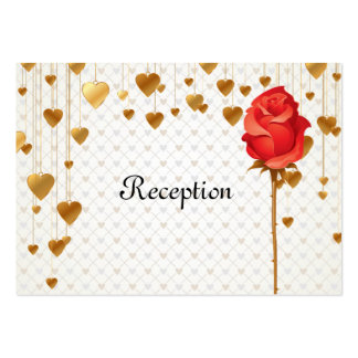 Golden Love Heart and Rose Wedding Reception Cards Business Card Template