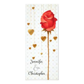 Golden Love Hearts and Rose Wedding 10 Cm X 24 Cm Invitation Card