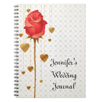 Golden Love Hearts and Rose Wedding Journal Note Books