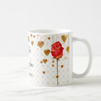 Golden Love Hearts and Rose Wedding Mugs