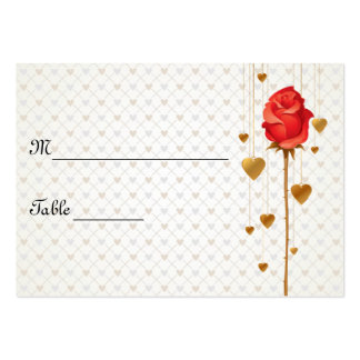 Golden Love Hearts and Rose Wedding Place Cards Business Card Template