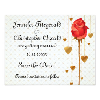 Golden Love Hearts and Rose Wedding Save the Date 11 Cm X 14 Cm Invitation Card