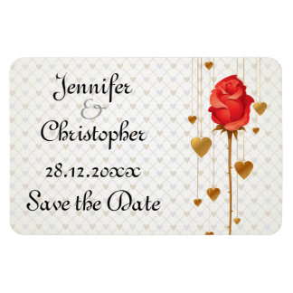 Golden Love Hearts and Rose Wedding Save the Date Rectangular Magnets