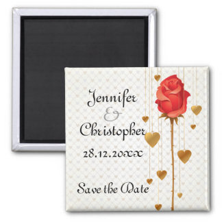 Golden Love Hearts and Rose Wedding Save the Date Square Magnet