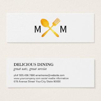 Golden Luxe Food Utensils Monogram Mini Business Card