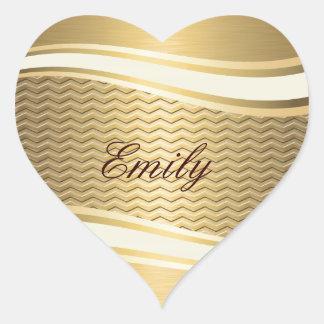 Golden luxury trendy chevron heart stickers