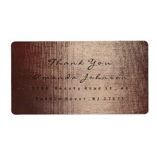Golden Makeup Chocolate Blush Stroke Thank You Shipping Label