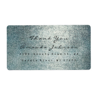 Golden Makeup Teal Silver Gray Thank You Shipping Label