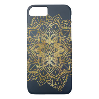 Golden Mandala Blue Background iPhone Case