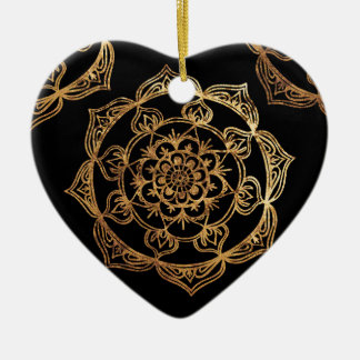 Golden Mandalas on Black Christmas Ornament