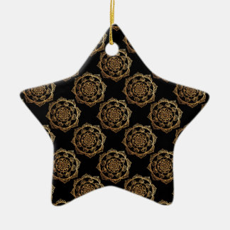 Golden Mandalas on Black Christmas Ornament