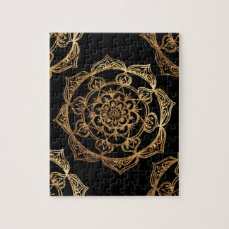 Golden Mandalas on Black Jigsaw Puzzle