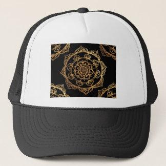 Golden Mandalas on Black Trucker Hat