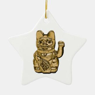 Golden Maneki Neko Christmas Ornament