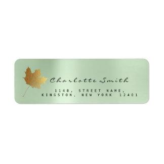 Golden Maple Leaf Mint Green RSVP Labels