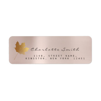 Golden Maple Leaf Pearly Pink Blush RSVP Labels
