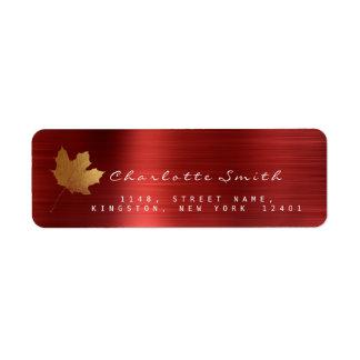Golden Maple Leaf Ruby Red Steel RSVP Labels