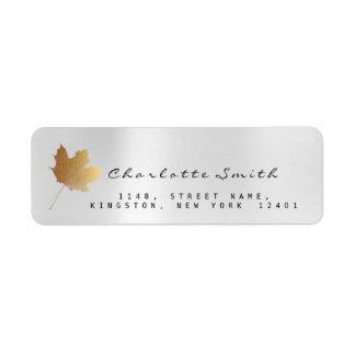 Golden Maple Leaf Silver Gray Steel RSVP Labels