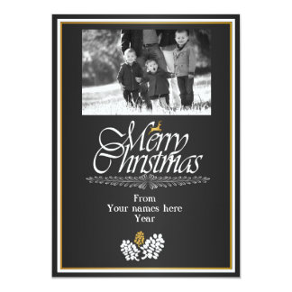 Golden Merry Christmas 13 Cm X 18 Cm Invitation Card