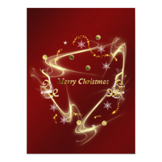 Golden merry christmas text 17 cm x 22 cm invitation card