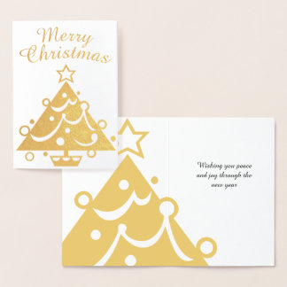 Golden Merry Christmas Tree Foil Card