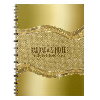 Golden Metallic Look With Diamonds Pattern Notebook