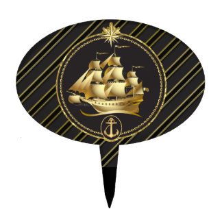 Golden Metallic Sailing Ship & Anchor Gold Stripes Cake Toppers