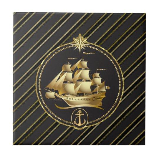 Golden Metallic Sailing Ship & Anchor Gold Stripes Small Square Tile