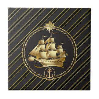 Golden Metallic Sailing Ship & Anchor Gold Stripes Tile