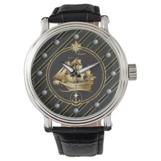 Golden Metallic Sailing Ship & Anchor Gold Stripes Watch