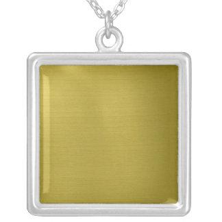 Golden Metallic Square Pendant Necklace