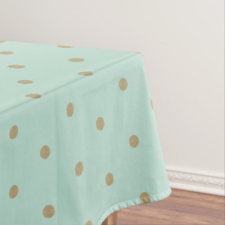 Golden Mint Polka Dot Table Cloth Tablecloth