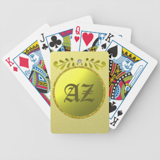 Golden monogram bicycle playing cards