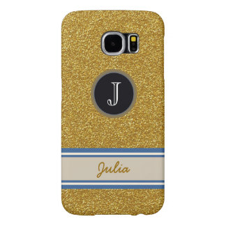 golden monogram Name with Initial Samsung Galaxy S6 Cases
