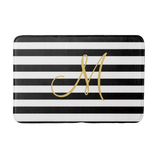 Golden Monogram on solid black and white stripes Bath Mat