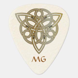 Golden Monogrammed Dragon Headed Tri-Quatra Pick Guitar Pick