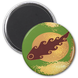 Golden Moon Effect 6 Cm Round Magnet