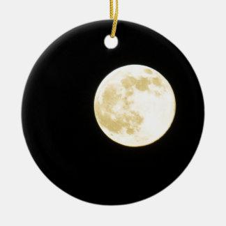 Golden moon round ceramic decoration