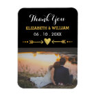 Golden Motif Wedding Magnet Favour Photo Thank You