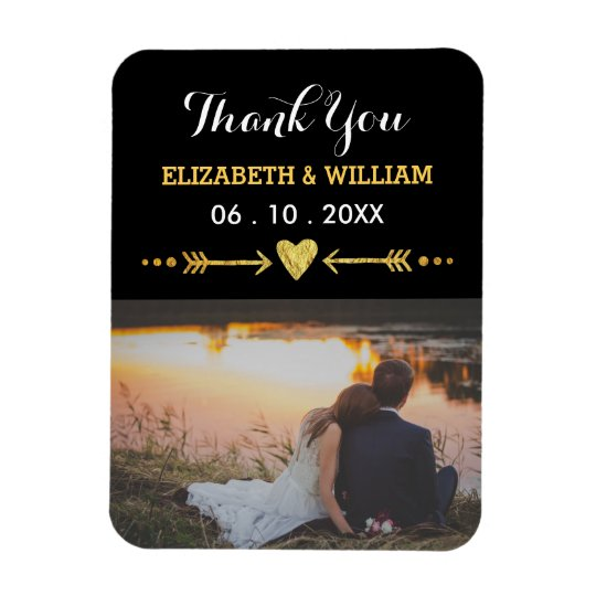 Golden Motif Wedding Magnet Favour Photo Thank You