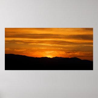 Golden Mountain Sunset Poster