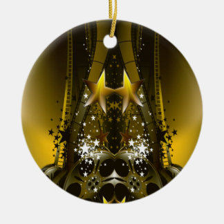 Golden Movie Reels And A Gazillion Stars Christmas Ornament