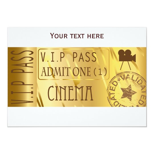 Golden movie ticket invitations