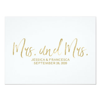 "Golden ""Mrs. and Mrs."" Lesbian Wedding Sign Card"