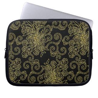 Golden mums japanese arabesque pattern laptop sleeve