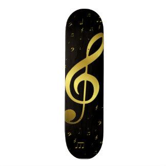 golden music notes in black skateboard