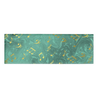 golden music notes pattern name tag