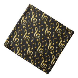golden music pattern on black bandana