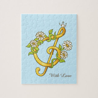Golden musical note (G Clef) Jigsaw Puzzle