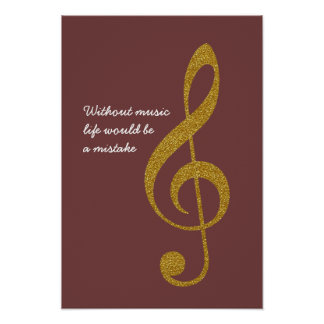 golden musical note treble g-clef poster